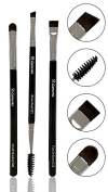 Eyebrow Brush - Duo Eye Brow Spoolie - Angled Eyeshadow Eyeliner - Precision Flat Definer - Small Shader - Premium Quality 3 Piece Set - Cruelty Free Synthetic Bristles - Apply Gel Powder Make Up Wax Pomade