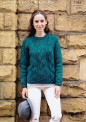 Hayfield Ladies Sweater With Wool Knitting Pattern 7068 Chunky