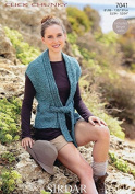 Sirdar Ladies Waistcoat Click Knitting Pattern 7041 Chunky