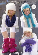 Sirdar Ladies & Girls Hats, Scarves, Mittens & Slipper Boots Big Softie Knitting Pattern 9354 Super Chunky