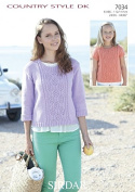 Sirdar Ladies & Girls Sweaters Country Style Knitting Pattern 7034 DK