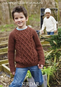 Sirdar Boys Sweaters & Hat Supersoft Knitting Pattern 2305 Aran
