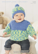 Sirdar Baby Sweater & Hat Snowflake Knitting Pattern 1435 Chunky