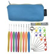 LOOEN Crochet Hooks Set Ergonomic Handle Needles Large-Eye Blunt Needles Kit with Case Bag