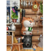 KYX(TM) Home Decor DIY Brown Cat 5D Diamond Painting Embroidery Cross Crafts Stitch