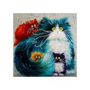 Kixing(TM) DIY 5D Colourful Cat Rhinestone Pasted Diamond Painting Cross Stitch