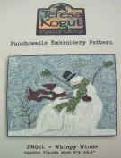 Whispy Winds Snowman Punchneedle Punch Needle Embroidery Teresa Kogut Pattern PN061
