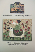 Pickin' Flowers Sheep Punchneedle Punch Needle Embroidery Teresa Kogut Pattern PN046