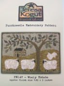 Woolly Estate Sheep Punchneedle Punch Needle Embroidery Teresa Kogut Pattern PN147