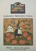 Merry Halloween Witch Punchneedle Punch Needle Embroidery Teresa Kogut Pattern PN126 Autumn Fall
