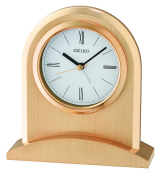 Seiko Gold Finish Arch Top Mantle Mantel Clock with Beep Alarm QHE163G