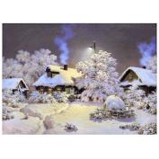 TOOGOO(R) DIY 5D Diamond Embroider Snow hut House Round Diamond Painting Cross Stitch Kits White