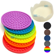 Enkore Coasters Novelty Multiple Colours In 1 Set With Holder, Colour Of Rainbow - Safer Coaster Choice For Kids Than Metal, Cork, Fabric, Paper Or Wooden Pad