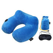 Sorliva Push-Button Inflatable Neck Pillow with Gift Eye Mask ,U-Shape Air Travel Pillow with Soft Velvet Neck Support and Spine Protection for Sleeping on Aeroplane, Car and Train