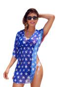 Gorgeous USA Flag Short Sleeve Cover-up Beach Dress Stars and Stripes Swimwear