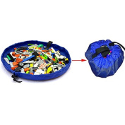 Blue 150cm Portable Kids Toys Storage Bag Play Mat Toy Organiser Rug Box