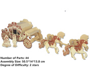 New Assembly DIY Education Toy 3D Wooden Model Puzzles Of Royal Carriage