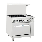 Atosa ATO-4B12G 90cm Gas Range. (4) Open Burners and 30cm Griddle on the RIGHT with One 70cm 1/2 Wide Oven