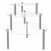 Set of 3 Round Clear Acrylic Retail Display Risers, Dessert & Bakery Stand