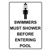 ComplianceSigns Vertical Aluminium Swimmers Must Shower Before Entering Pool Sign, 36cm x 25cm . with English Text and Symbol, White
