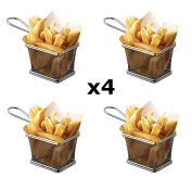 StillCool 4pcs Mini Fry Basket Square Stainless Steel Fryer Basket Present Fried Chip Food, Table Serving