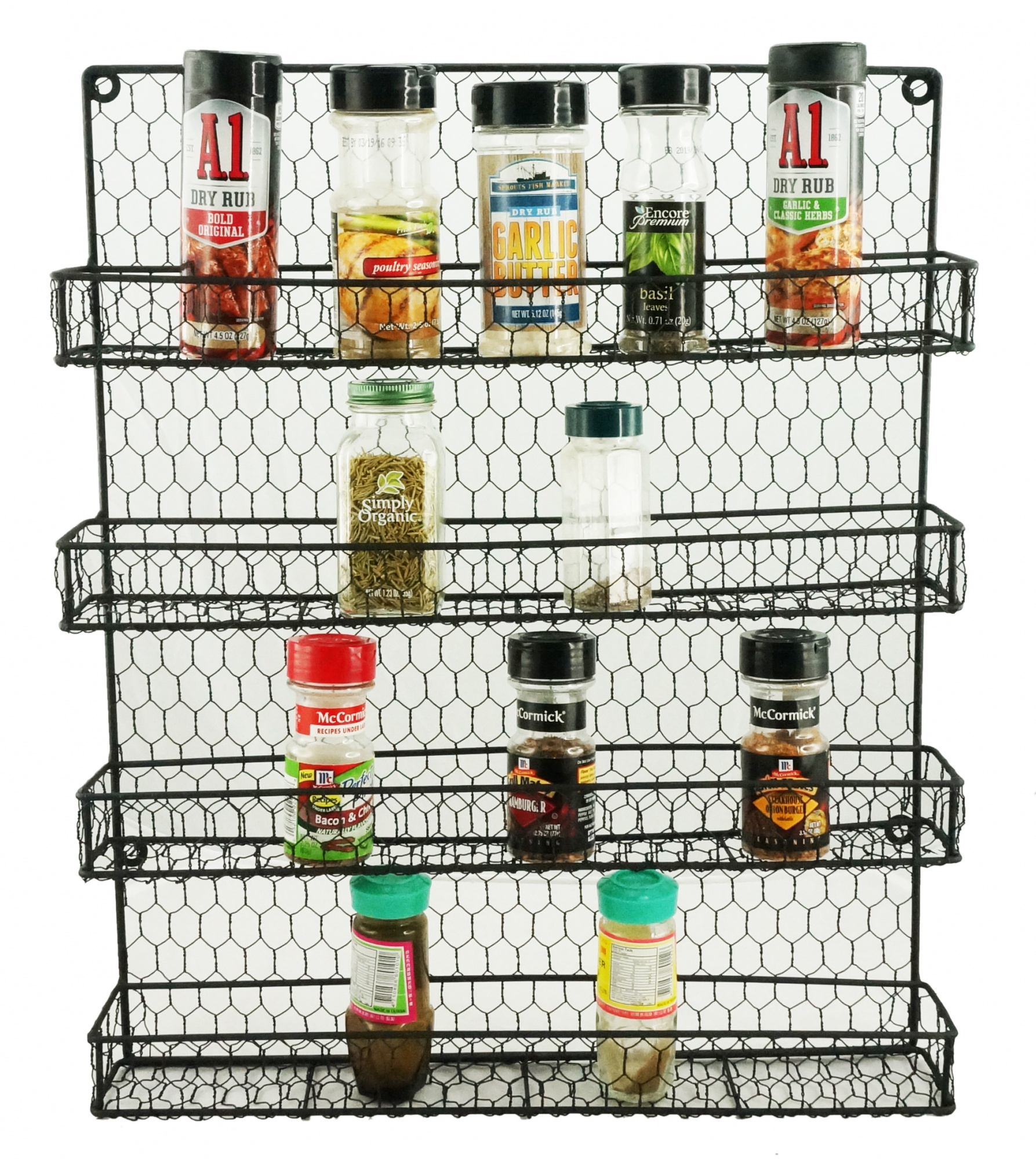 Wall Mount Pantry Organizer 1790 Rustic Chicken Wire Spice