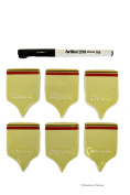 7pc Porcelain Cheese Labels Tags Markers with Non-Permanent Marker