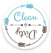 Dishwasher Magnet Clean Dirty White 7.6cm Round Magnet - Boho . Cool Tribal Primitive Arrow Design Flip Kitchen Magnet for Home Decor, Gift for Men & Women, or Party Favours, Made in USA