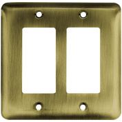 Franklin Brass 64079 Stamped Steel Round Double Decorator Wall Plate, 1 per pkg