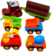 This Popular 5 Piece Toy Trucks For Toddlers Gift Pack Includes 4 Construction Vehicles Plus a Farm Tractor Truck With a Log Trailer For Ages 3+