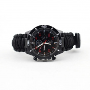 Dreamyth Outdoor Survival Watch Bracelet New Paracord Compass Flint Fire Starter Whistle