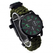 Dreamyth Outdoor Survival Watch Bracelet Paracord Compass Flint Fire Starter Whistle