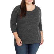 French Laundry Women's Plus Embrodiered Hi Lo Sweatshirt 3/4 Sleeve Knit Top