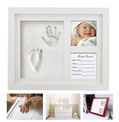 Dproptel Baby Handprint and Footprint Real Wood Photo Frame Kit - Unique Baby Shower Gifts for Registry, Memorable Baby Birthday Keepsakes, Room Decorations