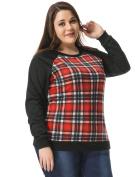 Women Plus Size Raglan Sweatshirt in Plaid Front Black 1X