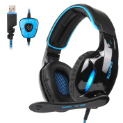 SADES 2017 New Version SA902 Blue 7.1 Channel Virtual USB Surround Stereo Wired PC Gaming Headset Over Ear earbuds with Microphone Revolution Volume Control Noise Cancelling LED Light