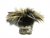 Rooster Feathers, 1 Yard - Natural Golden Badger Strung Chinese Rooster Saddle Wholesale Feathers