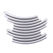 10PCS Stainless Steel Cylindrical Curved Tube Spacer Bead DIY Jewellery Making 40mmx3mm