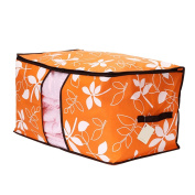 OUNONA Quilt Storage Bag-Collapsible See-through Flower Printed Storage Cubes Bin Box Containers,For Home, Office, Nursery, Closet
