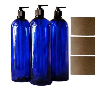 950ml Cobalt Blue Plastic PET Plastic Bottle with Black Hand Lotion Pump and Kraft Labels (3)