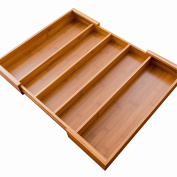 IKEEPFINE Bamboo Expandable Cutlery Drawer Tray Organiser 5 Large Compartment