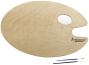 Artlicious - Over-sized Oval Shaped Wooden Palette 30cm x 40cm , Use with Acrylic, Watercolour, Oil Paints & Brushes