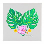 Tropical Leaves and 3 Flowers - 30cm Square Wall Canvas