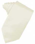 Men's Solid Satin Neck Tie 150cm Long. 8.9cm Wide in Ivory