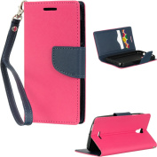 Insten Book-Style Leather Wallet Fabric Case with Lanyard For Alcatel One Touch Pop Astro - Hot Pink/Blue