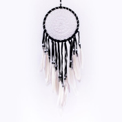 Pink Pineapple // Dream Catcher Black and White Crochet with White Feathers and Beads, Boho, Hippie, Gypsy Style 16 Centimetre Diameter 40 Centimetre Long