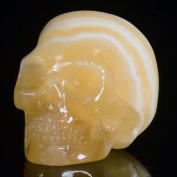Mineralbiz 3.3cm - 3.8cm Natural Yellow Calcite Hand Carved Human Skull Head Gemstone Carving, Crystal Skull Sculpture