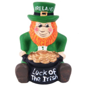 Green Ceramic Leprechaun Designed Money Box With Luck Of The Irish Pot Of Gold