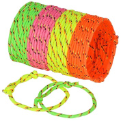 Neon Friendship Rope Bracelets, 4 Neon Colours, 144 Pcs, Adjustable, Great for, Birthday Party Favours, Summer Camps, Halloween Trick or Treat, Goody Bags,Teacher Gifts, By 4E's Novelty,