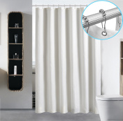 Waterproof Fabric Shower Curtain Liner by Hotel Quality Mildew Resistant Washable Eco Friendly Sheer Polyester Damask Stripe with Sliding Rust Proof Stainless Hooks - Standard 72 x 72, Light Beige